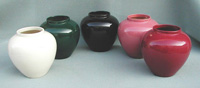 A selection of ceramic vases in color glazes
